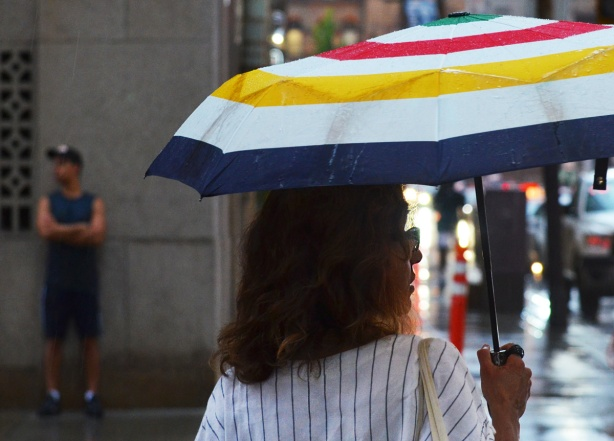 a woman holding an umbrella crosses the street
