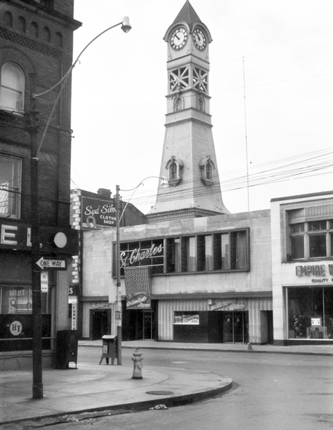 black and white photo from 1955 of the St. Charles Tavern and it's clock tower on YOnge Street