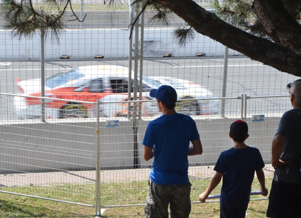 three men of three different ages stand on a grassy hill watching race cars practice at the Honda Indy in Toronto