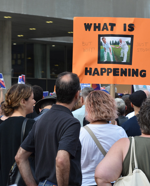 a woman with light brown hair holds a sign at a protest, seen from the back. The sign says what is happening? Picture of John Tory and Doug Ford as cricket players.