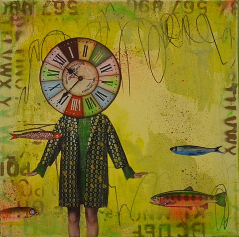 sqaure artwork, mainly yellow, person body with large clock head , fish swimming around, letters and numbers on the edges