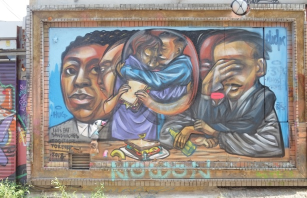 let's eat sandwiches together forever, a mural by elicser, with people and sandwiches, people in the middle are hugging