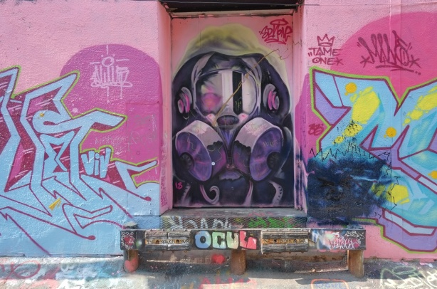 a mural of a person in a gas mask (spray paint mask) on a door in an lane with pink on either side
