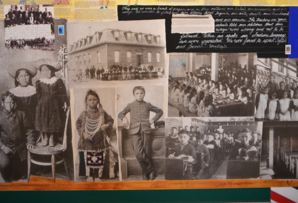collection of old black and white photos of First Nations kids in schools