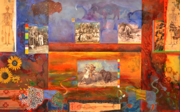 colourful collage and painting by Jane Ash Poitras. Uses old black and white photos