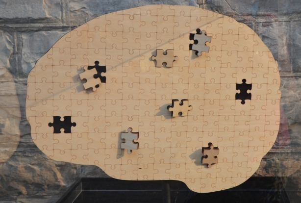 a plain brown puzzle in the shape of a brain, eight of the pieces are either missing or only partially in place