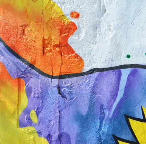 close up of the texture and some of the colours in a larger mural, abstract,