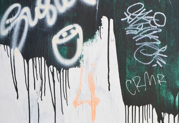 graffiti and paint drips in dark green, a pale pink 4