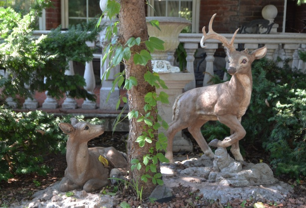 two statues of small deer in the front yard of a house, one is lying down and looking at the other who is standing nearby, both are in the shade of a large tree