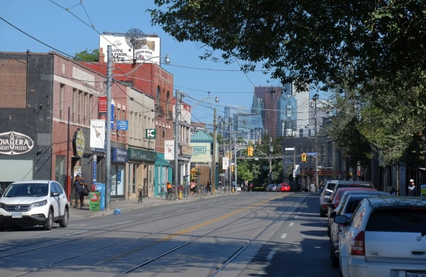 view along Dundas to the east, and downtown Toronto, from Dovercourt Rd