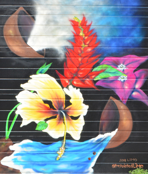 a painting by @thepainted lime, lime, on a garage door, flowers on a dark background,