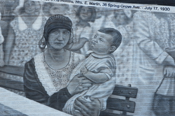 painting of a black and white photo from 1930 of a woman holding a baby