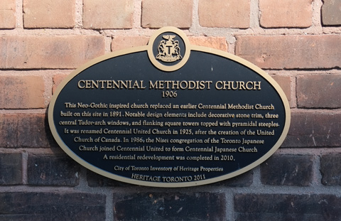 historical plaque for centennial methodist church on dovercourt road
