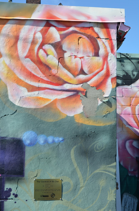 cracking cement on a wall covered with a mural of a pinkish rose, on green background