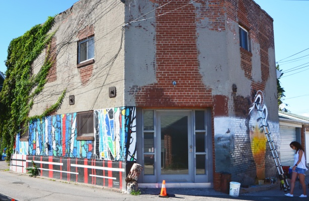 old building in an alley with murals being painted on two sides