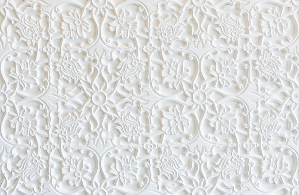 carved white wall, plaster