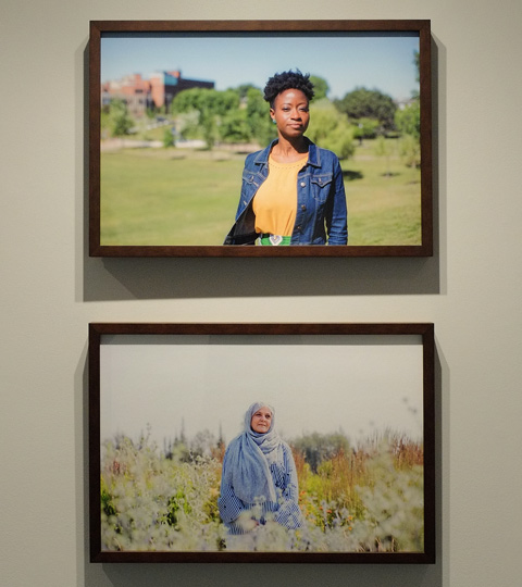 two photographs by Alia Youssef, each of a muslim woman in a field or park, the one on top is a younger black woman, the bottom is an older whiter woman with a head scarf