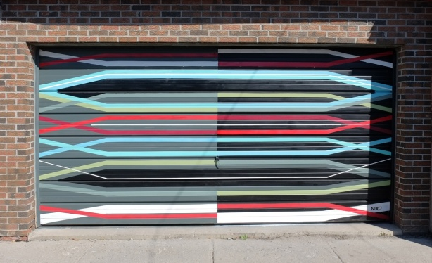 mural by nixo on garage door, straight horizontal lines