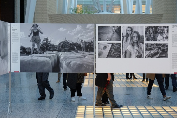 World press photo exhibit at Alan Lambert Galleria - a black and white series of photos about two girls in Austria.