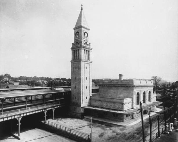 old black and white phot of North Toronto train station when it opened in 1916. It is now the Summerhill LCBO store on Yonge Street.