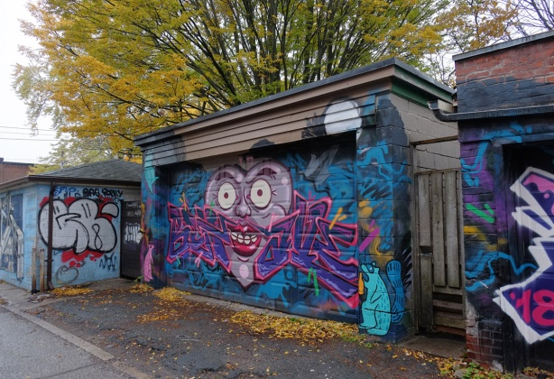street art on a garage door in an alley, large heart shaped face with big eyes and red lips, also raccoons,