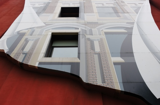 flatiron mural by Derek Besant on the east wall of the Gooderham Building, fake blue and white side of the building