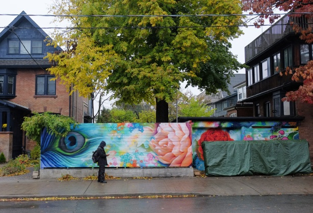 a man walks by a mural on a fence, a peacock feather and a pink flower