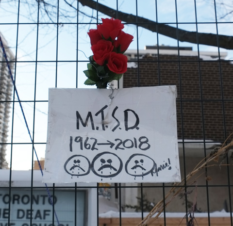 red roses stuck in a chainlink fence as a memorial tribute to the school that is being demolished, MTSD 1962 to 2018 where MTSD is Metropolitan Toronto School for the Deaf.
