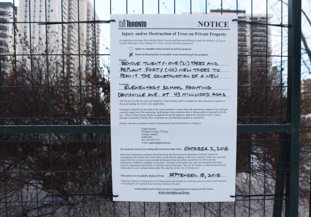 city notice posted on fence, permit to remove 22 trees. Notice that 44 trees will be planted once the building on the site (new elementary school) has been demolished