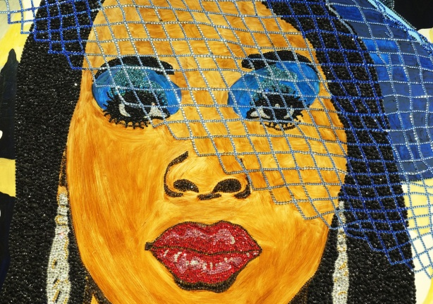 close up of a woman's face from a Mickalene Thomas painting, blue eye shadow, and a blue mesh veil diagonally across her face
