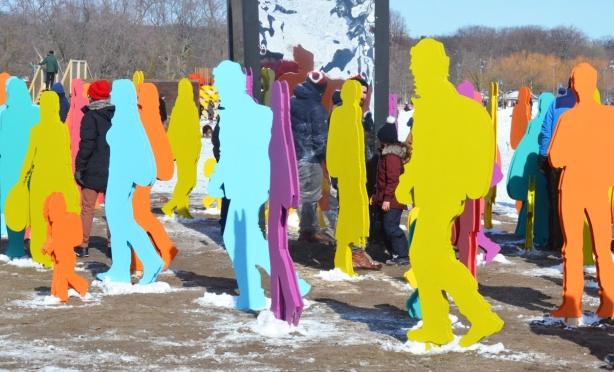 cavalcadde art installation at Woodbine beach, cutouts of people walking
