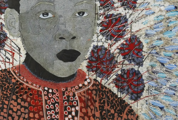 close up of a painting by Omar Ba of a boy's face in grey dots, wearing a patterned shirt