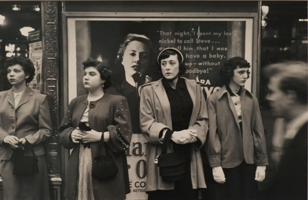 black and white photo from New York City in 1947, by Louis Faurer, hanging on the wall at the Ryerson Image Centre - part of the Howard and Carole Tanenbaum collection.