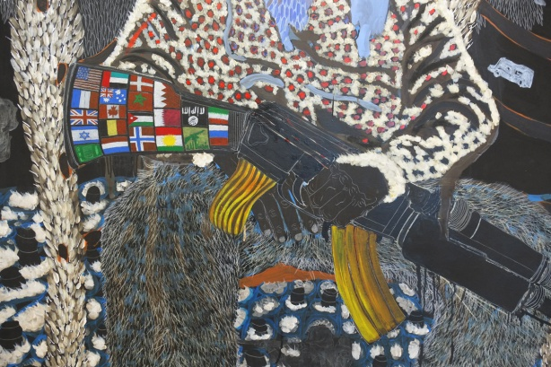 detail from an Omar Ba pinting, a black man holding an automatic rifle. The butt of the gun is covered with small flags from different countries
