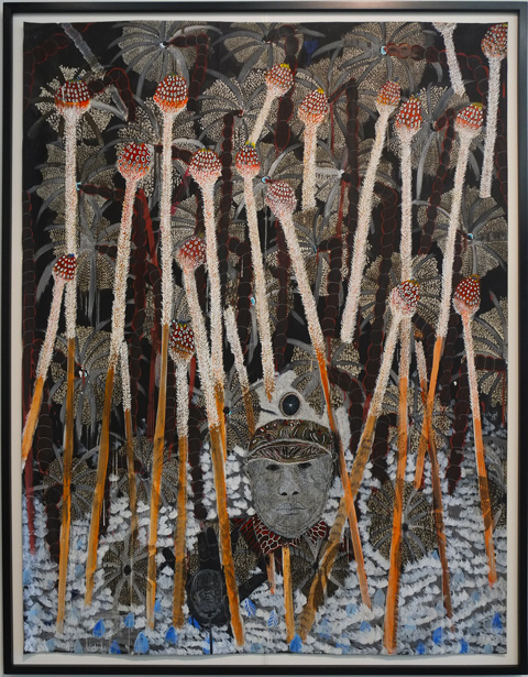 Naufrage, a painting by African artist Omar Ba on display at the Power Plant Contemporary Art Gallery, a black man in uniform peaking out from behind a lot of plants and their stems
