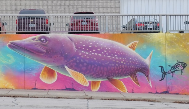 part of a Nick Sweetman mural on 30th street, a purple fish with yellow speckles and fins
