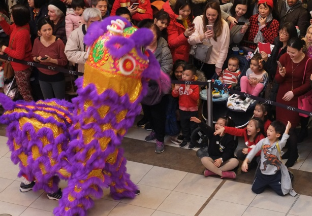 kids cheer and laugh as a purple lion (costume) dance in front of them