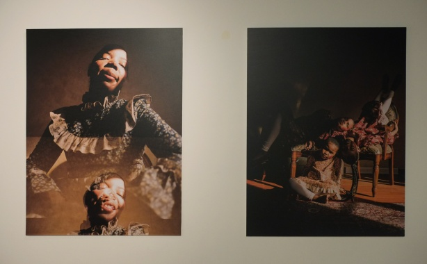 two portraits by Quil Lemons, on the left is a black woman and on the right, three black girls