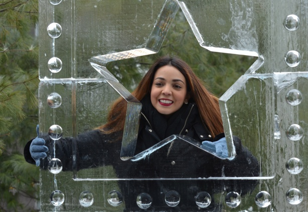 a woman with long reddish hair poses behind a cutout of a star in an ice sculpture