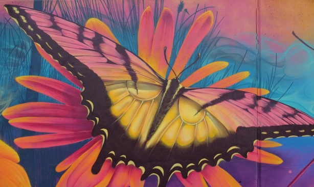 part of a Nick Sweetman mural on 30th street, large butterfly