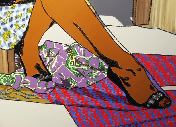 close up of an artwork by Mickalene Thomas at the AGO, a black woman's legs, seated, crossed at the knee, embellished with rhinestones