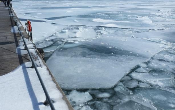 broken chunks of ice on Lake Ontario