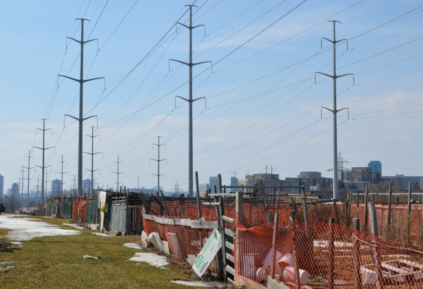 community garden surrounded by orange wire fence, under hydro poles,