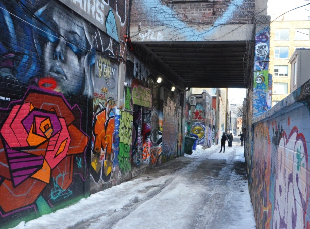 Graffiti Alley in winter