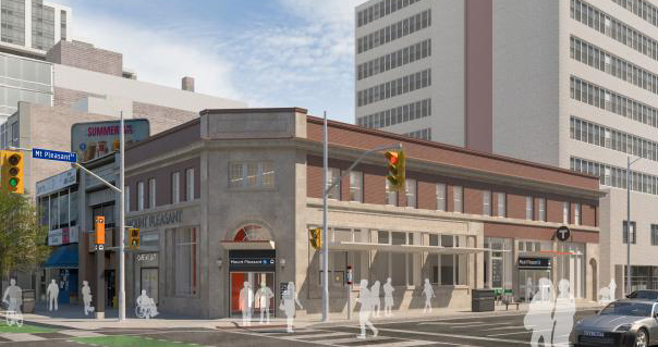 artists conception of a new LRT station with a re-purposed older building
