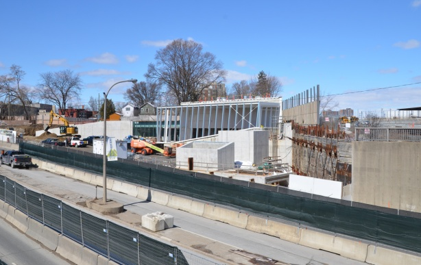 construction of Mt Dennis LRT station beside Eglinton ave and beside railway tracks