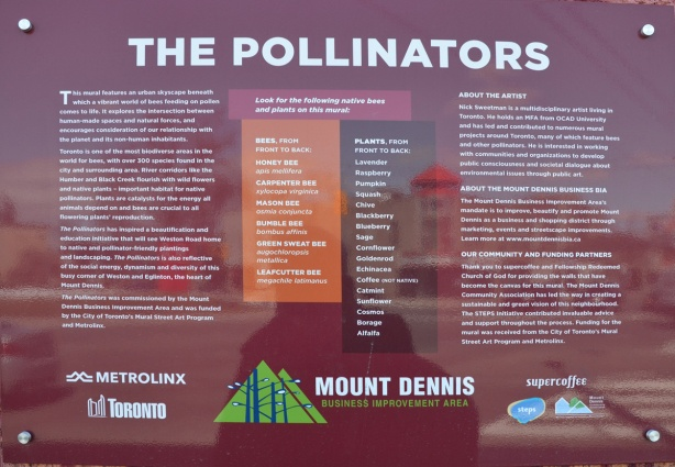 a sign that describes Nick Sweetman's mural of bees and pollinators in Mt Dennis