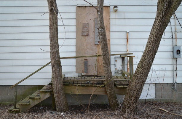 side door of a white wood house with rickety porch and steps. three trees growing besie it, door is boarded up