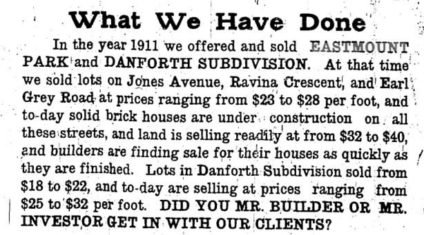 newspaper ad from 1912 in the Toronto Star