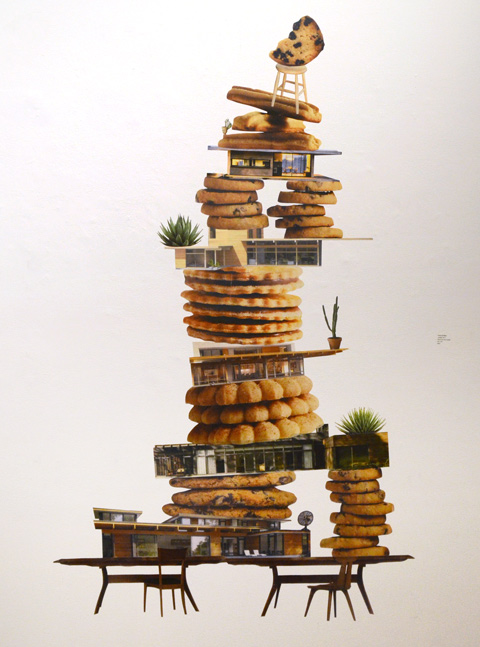 an artwork that is a collage of photos of cookies, tables, and bungalows, stacked on top of each other to make a large tower